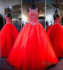 New Style Red Beaded Ball Gown Prom Dress Quinceanera Dress Formal Evening Dress