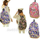 Vintage Women Girl Canvas Rucksack Cute Flower Backpack Hobo School Bookbag