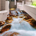 White Waterfall Rocks 3D Floor Mural Photo Flooring Wallpaper Home Wall Decal