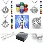 Fashion Sanskrit 7 Chakra Gemstones Hollow Locket Pendant Silvery Chain Necklace