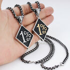 Silver Black Gold Mens Chain Lucky Hexagon 316L Stainless Steel Pendant Necklace
