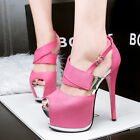 New Womens Ladies Platform Sandals High Heels Peep Toe Suede Party Fashion Shoes