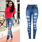 Womens High Waisted Stretch Ripped Frayed Ladies Slim Denim Trousers Pants Jeans