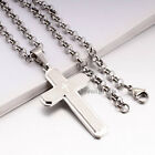 MENS Stainless Steel 5mm Ring Chain Necklace Scripture Christian Cross Pendant