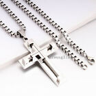 """18-36""""inch MENS Stainless Steel 4mm Silver Box Link Chain Necklace Cross Pendant"""
