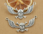 2/10/50pcs wholesale  Tibetan Silver Skull  wings Jewelry Charm Pendant 58x29mm