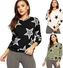 Womens Star Print Sweatshirt Top Ladies Long Sleeve Crew Neck Jumper New 8-14