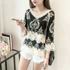 New Ladies Embroidery V Neck Lace Blouse Long Sleeve Loose Baggy Fit T Shirt Top