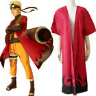 Naruto Uzumaki 6th Hokage Shippuuden Anime Cosplay Costume Cloak Robe +Track