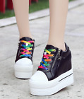 Hot Sale Womens High Top Sneaker Hidden Heel Sports Athletic Platform Shoes
