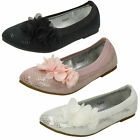 Girls Black / White / Pink Spot On Party/Summer Dolly Shoes UK Sizes 9 - 2 H2427