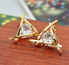 New Fashion Women Lady Elegant Triangle Crystal Rhinestone Ear Stud Earrings