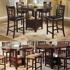 Cappuccino Dark Cherry Storage Counter Height Leaf Pub Table Dining Kitchen Set