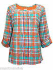 New Ex M&S Ladies Orange Check Blouse Long Sleeve Embroidered Shirt Top Sz 14-24