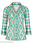 New Ex M&S Ladies Green Pleated Blouse Long Sleeve Checked Shirt Top Size 10-20