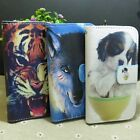 Wolf Tiger Dog Wallet Pouch Stander flip case cover for LG Phone