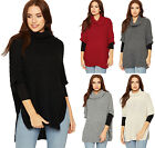 Womens Cowl Neck Cable Knitted Poncho Ladies Cape Cloak Cardigan Top Polo