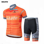 MILOTO Mens Cycling Jersey Short Sleeve Bike Sports Bib Shorts Sets Orange S-4XL
