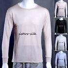 Mens 100% Pure Silk Knitted T Shirts Casual Long Sleeve Tee Tops Size M-XL AF222