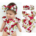 Newborn Baby Girl Clothes Flower Jumpsuit Romper Bodysuit  + Headband Outfits LX
