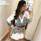 Fashion Women Ladies Long Sleeve Loose Blouse Summer V Neck Casual Shirt Tops US