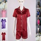 Womens Ladies 16 Momme 100% Pure Silk Shot Sleeve Pajama Tops Shorts Set