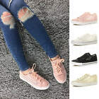 WOMENS LADIES LACE UP SEQUIN MESH LOW TRAINERS PLIMSOLES SUMMER SNEAKERS SIZE