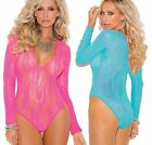Stretch Lace Teddy Bodysuit, Deep V Long Sleeves Lingerie Choose Pink or Green