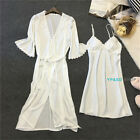2Stk Damen Pyjamas Set Satin Silk Negligee Nachtwäsche Morgenmantel Robe + Kleid