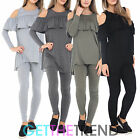 LADIES COLD SHOULDER FRILL LOUNGEWEAR SUIT WOMENS FRILL STYLE SLEEPWEAR SET 8-18