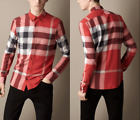 "BURBERRY BRIT ""Fred"" Exploded Check Flannel Shirts Parade Red NEW NWT"
