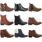 LADIES WOMENS ANKLE ZIP FLAT LOW BLOCK HEEL CHELSEA BUCKLE BOOTS SHOES SIZE 3-8