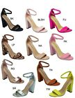 Womens Open Toe Single Sole Ankle Strap Chunky Thick Block High Heel Pump Sandal