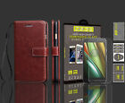 Rich Leather Luxury Wallet Flip Case For Motorola Moto G4 Play & Tempered Glass