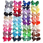 "4"" Inch Ribbon Hair Bow Alligator Clip Girls Hair Pin Hair clip 40 col  UK Stock"