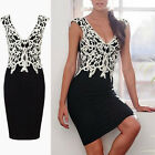 Plus Size Womens Floral V-Neck Sleeveless Bodycon Long Evening Mini Slim Dress