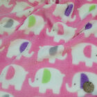 "PER METRE/ FAT QUARTER super soft cuddle fleece pink elephants 60 "" wide"