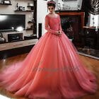 New Princess Quinceanera Dresses Lace Long Sleeve Prom Party Wedding Ball Gowns
