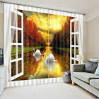 Two Swans Swim Out Window 3D Blockout Photo Mural Printing Curtains Draps Fabric