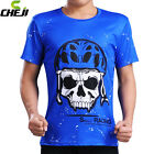 Skull Blue Men Sports Cycling Jerseys Round Neck Tops Racing T-Shirt S-3XL
