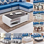 Modern High Gloss Coffee Table Rotatable Nested Storage Living Room Furniture