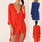 Women Lady Pullover Deep V-neck Mini Dress Casual Loose Blouse Top T Shirt New