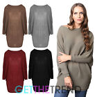 Womens Knitted Ladies Long Loose Tops Knitwear Dress Baggy Ribbed Batwing Tunic