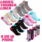 9 Pairs Ladies Sports Ankle Socks Cotton Rich Trainer Liner For Running Size 4-8