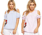 Womens Floral Embroidered Rose Cold Shoudler Striped Top Ladies Lace Trim 8-14