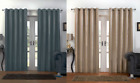 CARBON THICK SUEDE LOOK PLAIN RING TOP THERMAL BLOCK OUT CURTAINS SILVER LINES