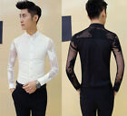 Men's Sexy Maple Leaf See Through Mesh Patchwork Slim Fit Casual Party Shirt Top