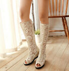 Womens Gladiator Knee High Boots Wedge Lace Up Cut Out Sandal Summer Shoes New