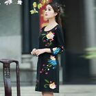 Retro Chinese National Womens Dress coat Flowers Embroidered Wind Loose Skirt