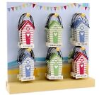 Seaside BEACH HUT HANGERS - Summer Fun -Wooden 9x6cm - Message Choice -Home Gift